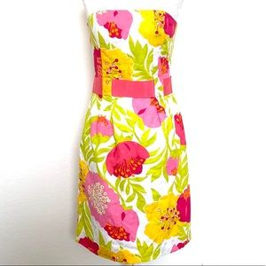 Lilly Pulitzer floral strapless belted dress